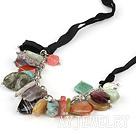 水晶玛瑙松石项链毛衣链
