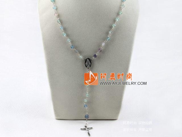 紫萤石念珠项链