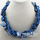 宝蓝色珍珠贝壳项链