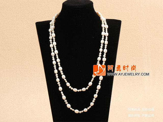 白珍珠长款毛衣链项链