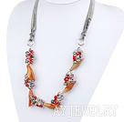 珍珠水晶玛瑙花项链毛衣链