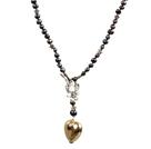 黑珍珠项链 配心形坠