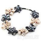 双色珍珠贝壳花项链