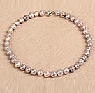 10-11mm亮光少纹浅紫色珍珠项链