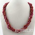 珍珠红石项链