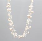 多层白珍珠水晶项链