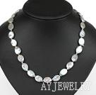 灰色椭圆形再生珍珠项链