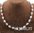 白珍珠蓝水晶项链