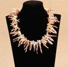 树枝状粉色再生珍珠项链