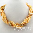 明黄色珍珠贝壳项链