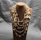五层天然黄水晶白水晶珍珠项链