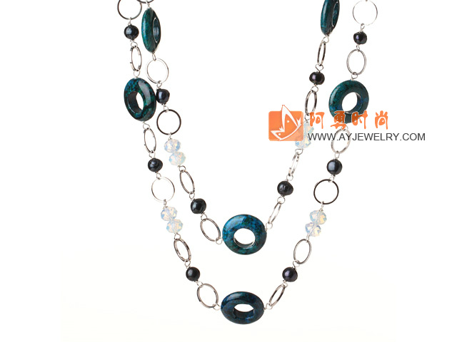 凤凰石黑珍珠水晶项链 110cm长款毛衣链