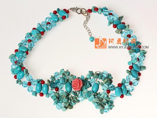 松石水晶珊瑚项链 编花款