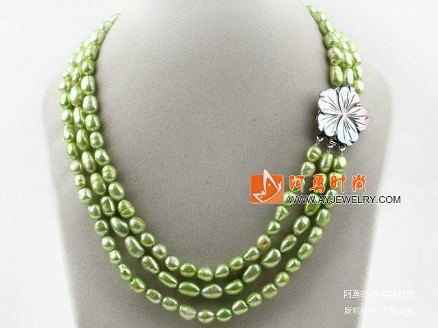 果绿色三排巴洛克珍珠项链