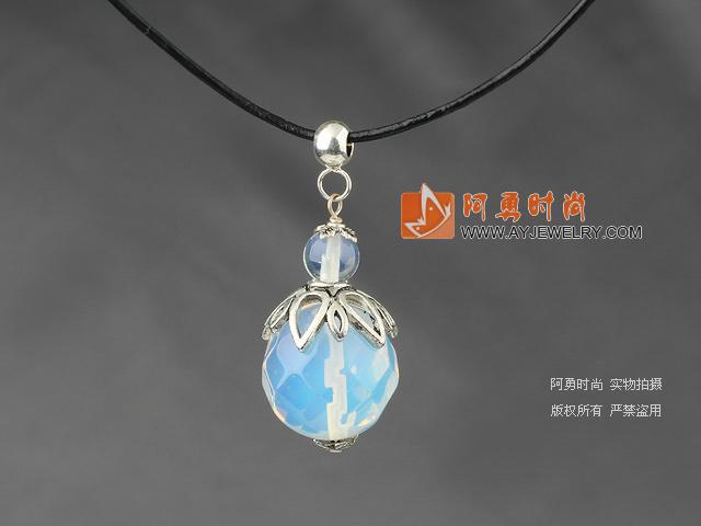 蛋白水晶吊坠项链