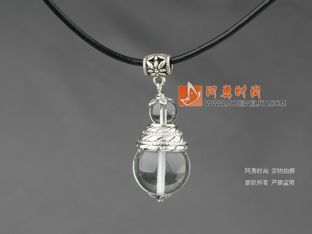 白水晶吊坠项链