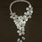 白珍珠贝壳花朵长款项链