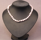 浅粉色土豆形珍珠项链