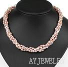 四股紫珍珠水晶项链