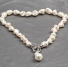 异形白色海贝珠吊坠项链 (吊坠可拆卸)