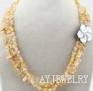 圆角黄水晶项链 三层随形珠独特花扣款
