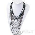 时尚黑胆水晶金属链项链 礼服款