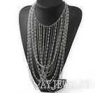 时尚白水晶金属链项链 礼服款
