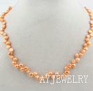 橘色两面光珍珠项链