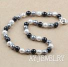 12mm黑白灰切面海贝珠项链