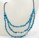 蓝松石玻璃珠项链