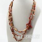 珍珠水晶贝壳玛瑙花项链
