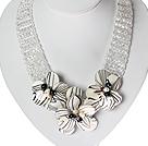 珍珠水晶花朵贝壳项链 唯美款