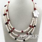 三排珍珠黑红玛瑙项链 三层独特花扣款