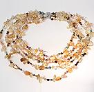 天然黄水晶白水晶珍珠项链 多层款