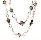 天然茶晶珍珠项链 毛衣链 110cm合金链长款