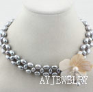 灰珍珠贝壳花颈链项链