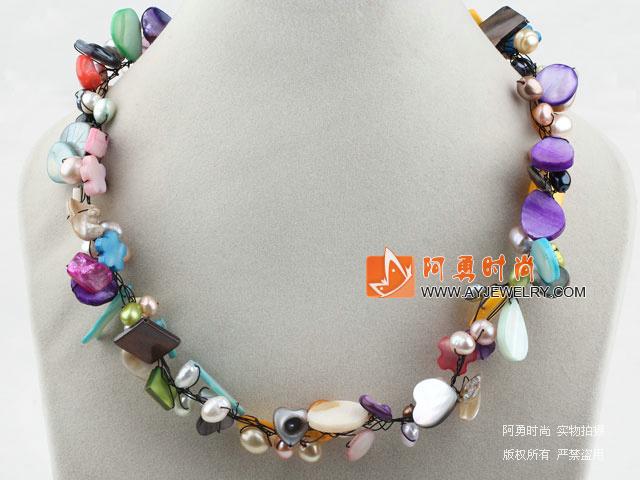 珍珠彩色 贝壳项链 - 编号:x2784