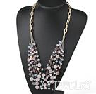珍珠水晶芙蓉石项链 合金链多层款