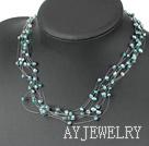 绿色珍珠水晶项链 满天星款