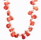 白珍珠橘红色珊瑚项链