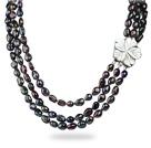 黑色三排巴洛克珍珠项链