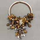 珍珠虎眼石水晶项链
