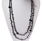 黑珍珠黑玛瑙茶水晶项链 毛衣链 长款