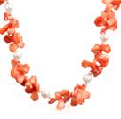 白珍珠橘色珊瑚项链