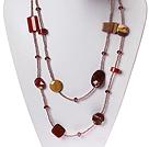 红石蛋黄石水晶项链 毛衣链 长款