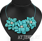 珍珠松石花朵项链