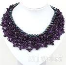 黑珍珠紫水晶编织项链