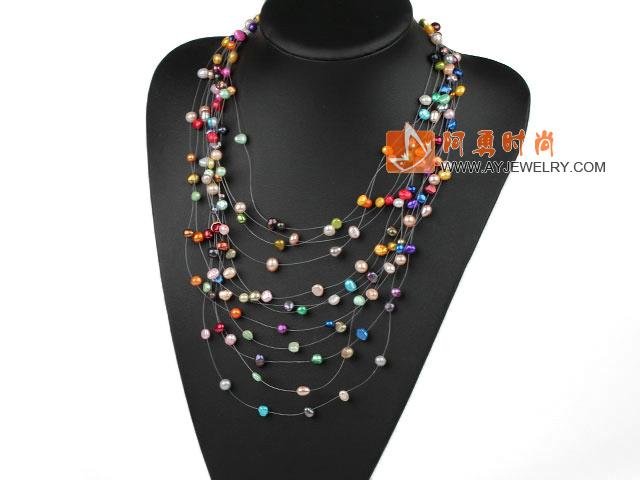 彩色珍珠项链