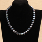 10-11mm亮光深灰色珍珠项链