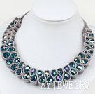 灰色天鹅绒蓝水晶项链 绒布绳款